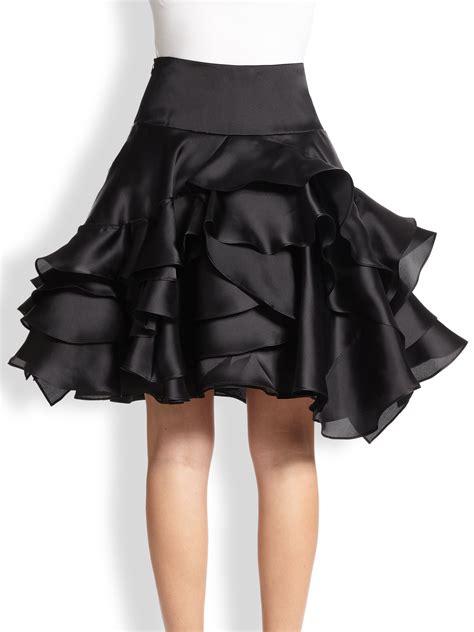 Silk Skirt lyst milly tara silk satin tiered ruffle skirt in black