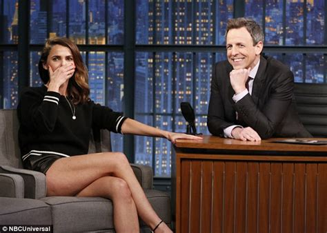 matthew rhys interview seth meyers keri russell shows off her fabulous legs in black leather