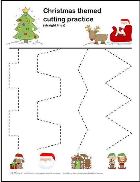 printable toddler christmas activities christmas cutting practice sheets makeovers and motherhood