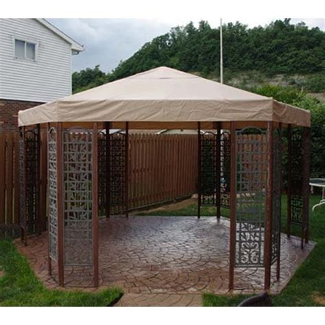 replacement awnings for gazebos garden winds replacement canopy for hexagon trellis gazebo
