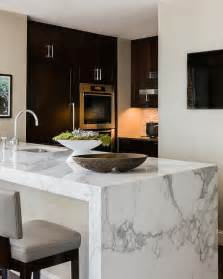 marble island kitchen marble waterfall island modern kitchen elms interior
