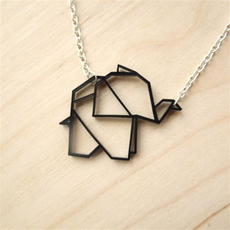 Origami Pendant - geometric baby origami elephant necklace by q u i e t l