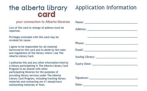 Library Card Application Form Template by Tal Card Supplies The Alberta Library