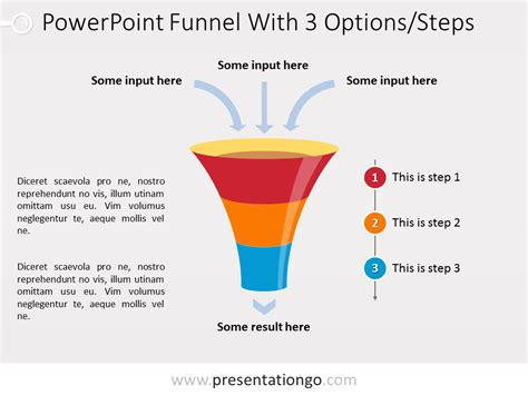 Powerpoint Funnel Chart With 3 Steps Presentationgo Com Funnel Template Powerpoint