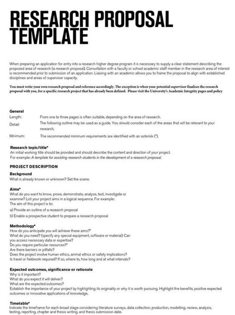 Research Proposal Template - Research Proposal Template