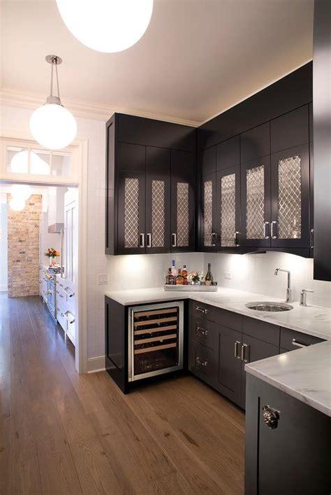 kitchen  metal grille cabinets transitional kitchen