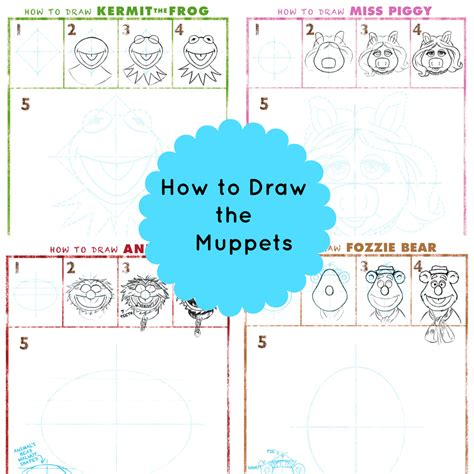how to draw the muppets kermit miss piggy animal
