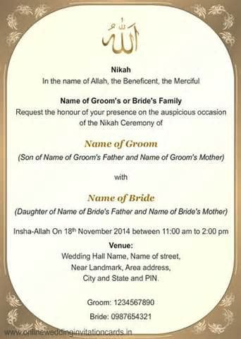 muslim wedding invitation card format festival tech com
