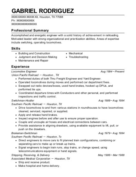 Cabot Resume by Union Pacific Locomotive Engineer Resume Sle Cabot