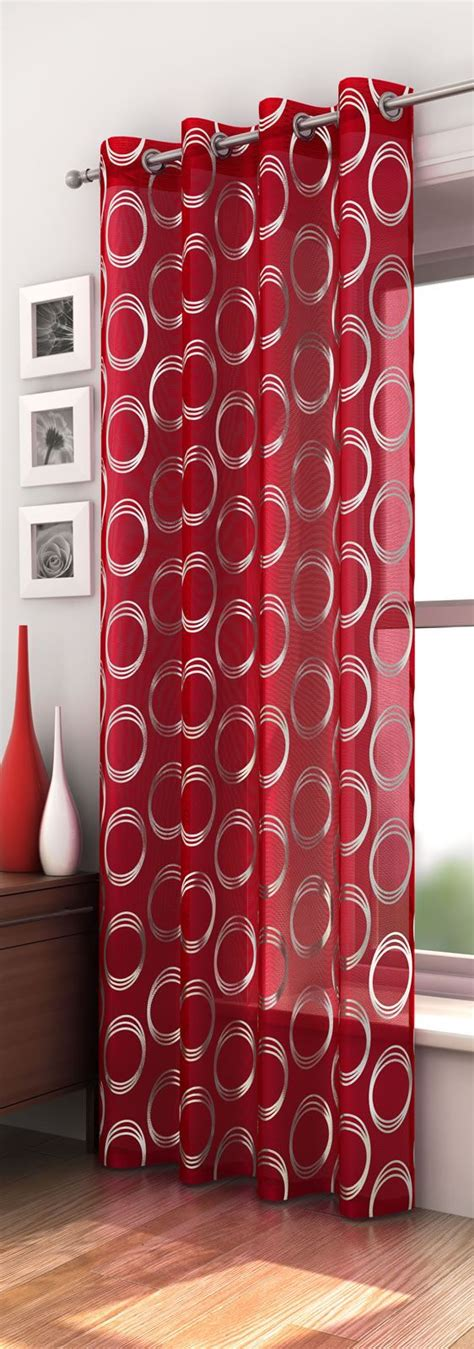 Black Floral Curtains Mexico Retro Circle Pattern Voile Curtain Panel Ready Made