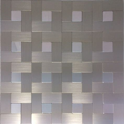 brushed silver metal mosaic wall tiles backsplash almt026