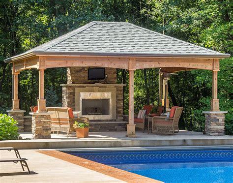 cedar gable roof open rectangle pavilions pavilions