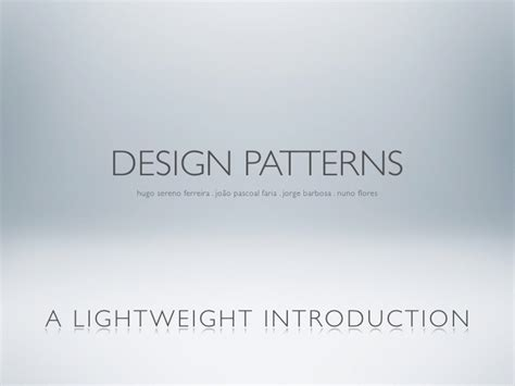 pattern making introduction design patterns a lightweight introduction