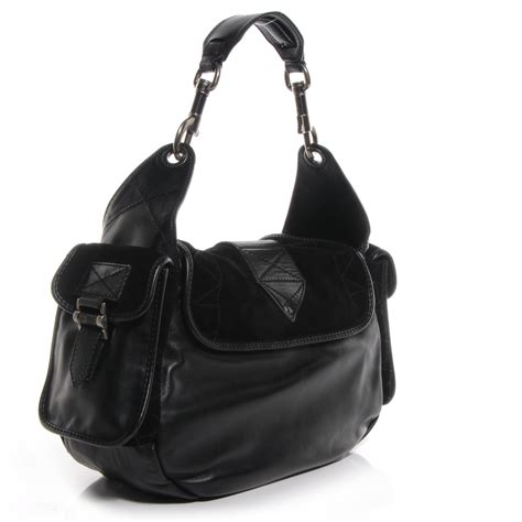 Purse Deal Christian Rebelle Handbags Clearance by Christian Leather Suede Rebelle Hobo Black 62750