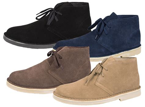 dessert boats mens boys full suede leather lace up desert boots ankle