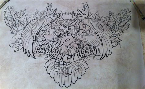 heart chest piece tattoo designs owl my newest design chest ink