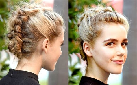 braided hairstyles red carpet kiernan shipka celebs hot braided hairstyles on the red