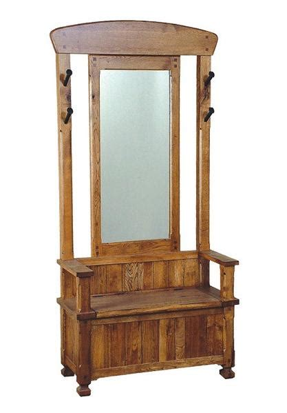 hall tree with storage bench and mirror sd 2537ro sedona rustic oak hall tree with mirror