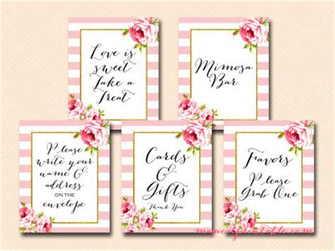 free printable wedding shower signs pink stripes and floral printable signs wedding bridal