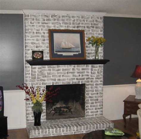 Black Painted Brick Fireplace by Painted Gray Fireplaces Brick Fireplace Brick