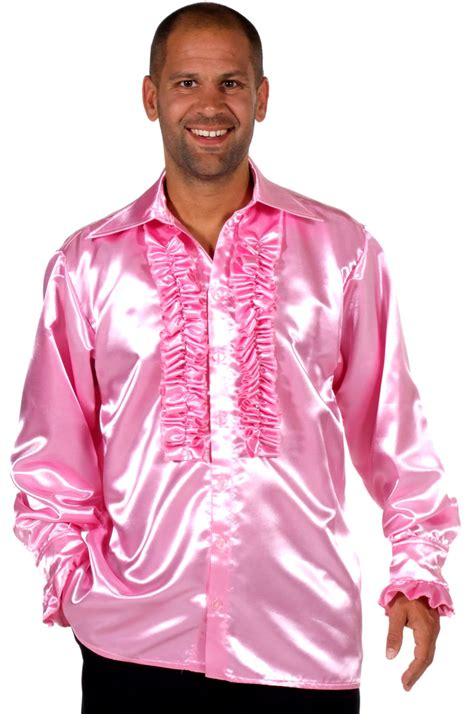 70 s mens satin shirt pink 205201 3 fancy dress