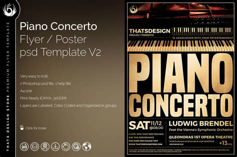 Piano Concerto Flyer Template V 2 Tds Psd Flyer Templates Ii Flyer Template