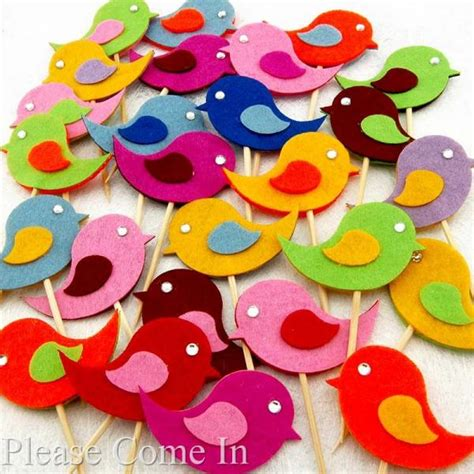 Handmade Birthday Decorations - 10 handmade felt bird cupcake topper cake decorations