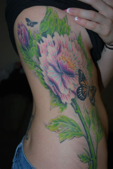 side flower tattoo right side side flower time and