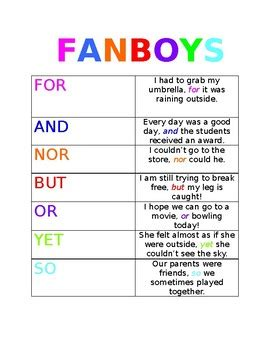 Fanboys Worksheet by Fanboys Conjunctions By Kaitlyn Vazquez Teachers Pay