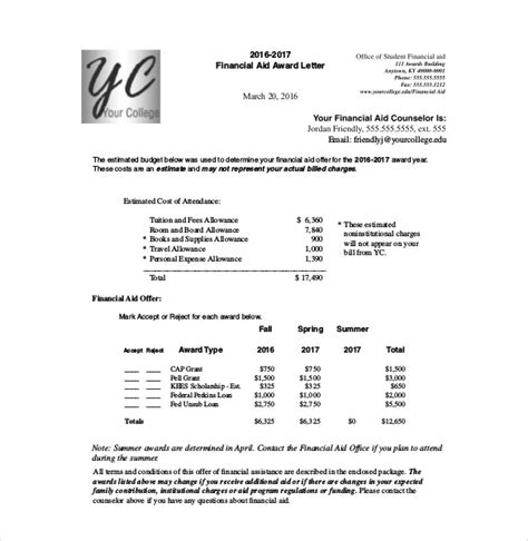 Financial Aid Award Letter Of Award Letter Template 13 Free Word Pdf Documents Free Premium Templates