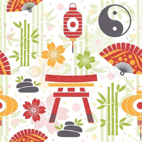 japanese pattern symbolism oriental seamless pattern with asian symbols and objects