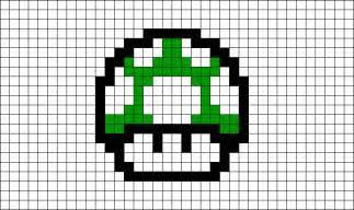 1 up mushroom pixel art brik