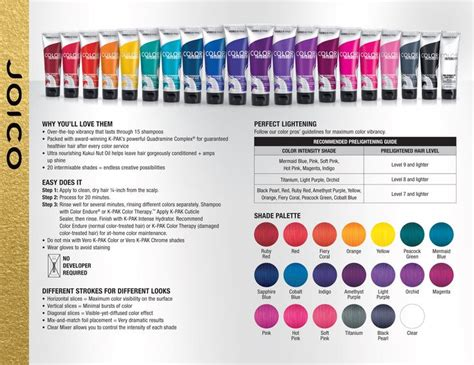 joico vero k pak color intensity fact sheet color