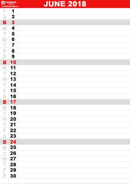 printable calendar vertical list printable june 2018 calendar calendar table
