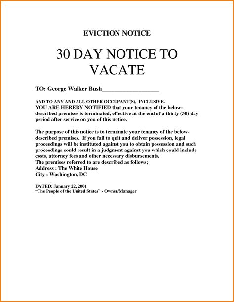 How To Write A 30 Day Eviction Notice In Oregon Eviction Notice Exle Basic Residential Eviction Warning Notice Template