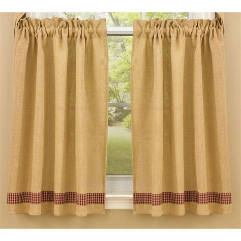 24 length curtains burlap and check unlined curtain tiers by park designs 24