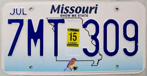 2015 missouri license plate 7mt 309