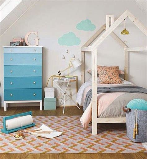 loft house shaped beds for kids room