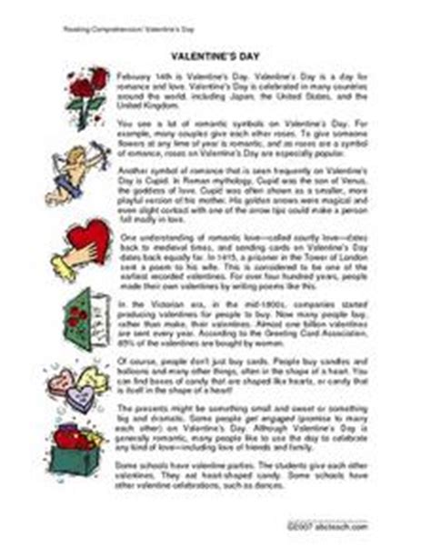 valentines reading comprehension worksheet reading comprehension s day 3rd 4th grade