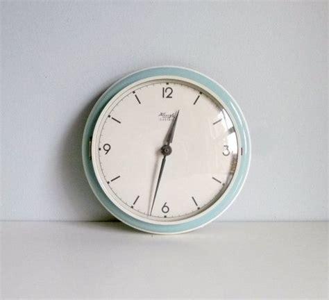 mid century modern kitchen wall clock duck egg art deco