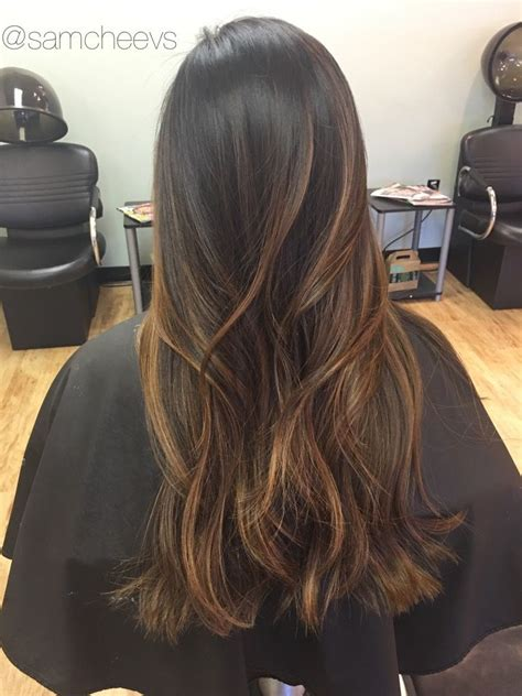 highlights in latinas caramel brown balayage ombr 233 for dark hair types ethnic