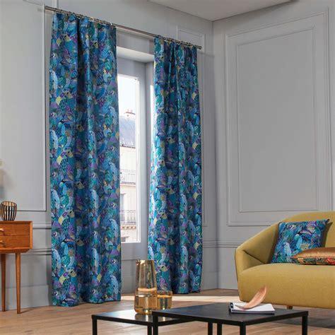 gathered curtains gathered curtain jungle birds blue madura