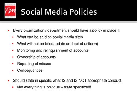Social Media Law Enforcement 2013 Social Media Policy Template For Enforcement