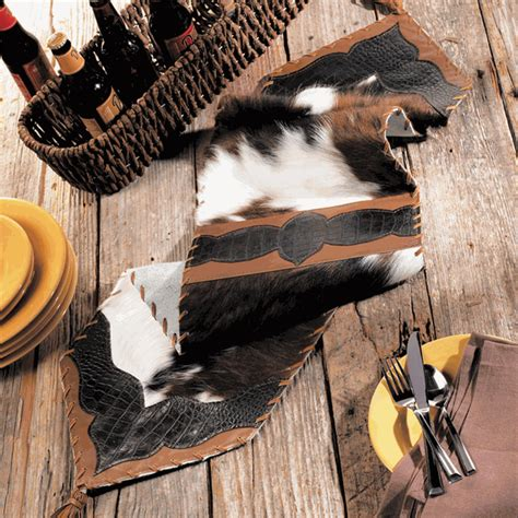 Cowhide Croc Leather Table Runner 72 Inch Cowhide Table Runner