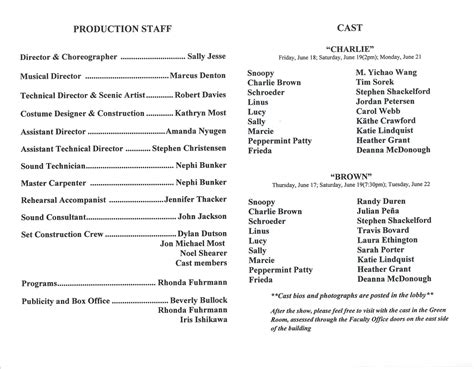 list of characters charlie brown brown cast june 2010 01 cbrown cast list