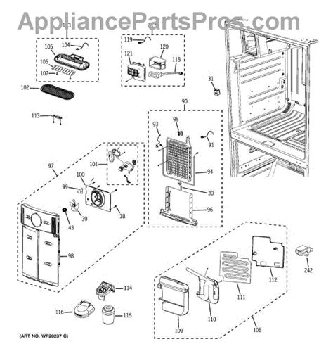 ge maker parts diagram parts for ge pfss6pkwbss fresh food section parts