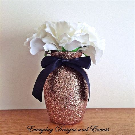 3 Rose Gold Glitter Vases With Black Satin Bows Wedding Black Vases For Wedding Centerpieces