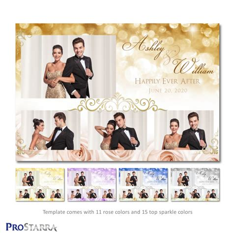 Roses And Sparkles 6x4 Inch Elegant Wedding Photo Booth Template Layout Prostarra Photo 4x6 Photo Booth Templates