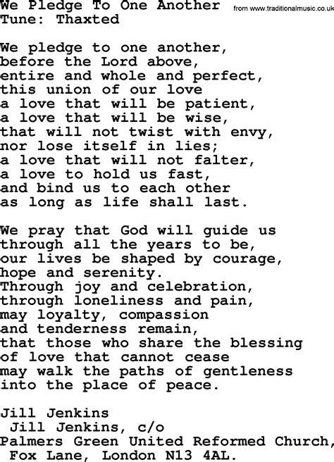 Wedding Bible Hymns by Most Popular Christian Wedding Hymns Hymn We Pledge To