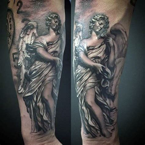 guardian angel tattoo for men grey colored guardian guys forearms